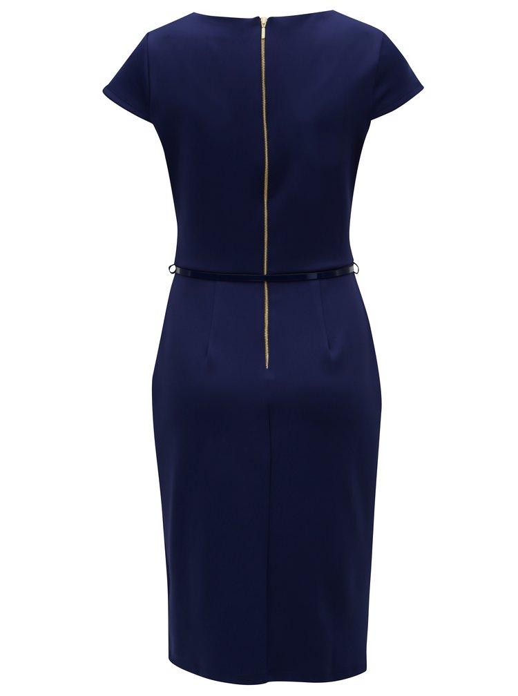 Tmavě modré šaty s asymetrickým výstřihem Dorothy Perkins