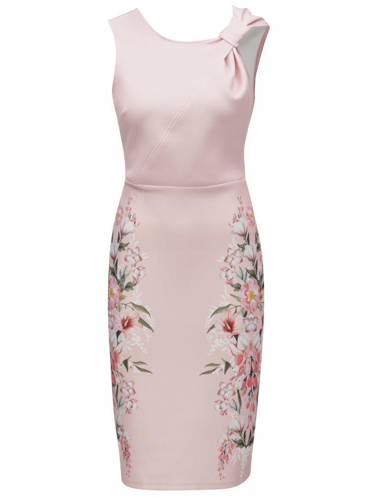 Rochie roz deschis teaca cu model floral Dorothy Perkins