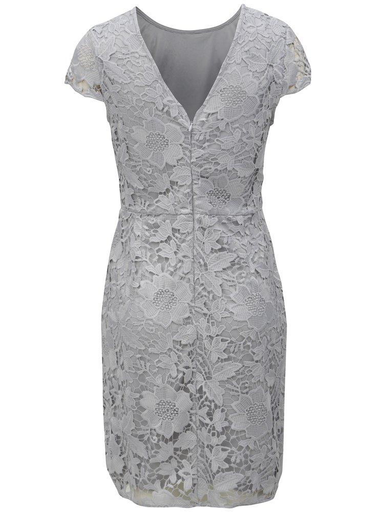 Šedé krajkové pouzdrové šaty Dorothy Perkins