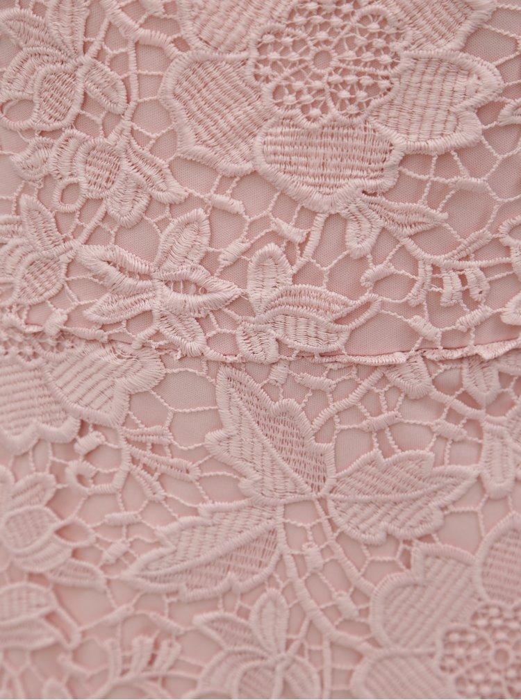 Růžové krajkové pouzdrové šaty Dorothy Perkins