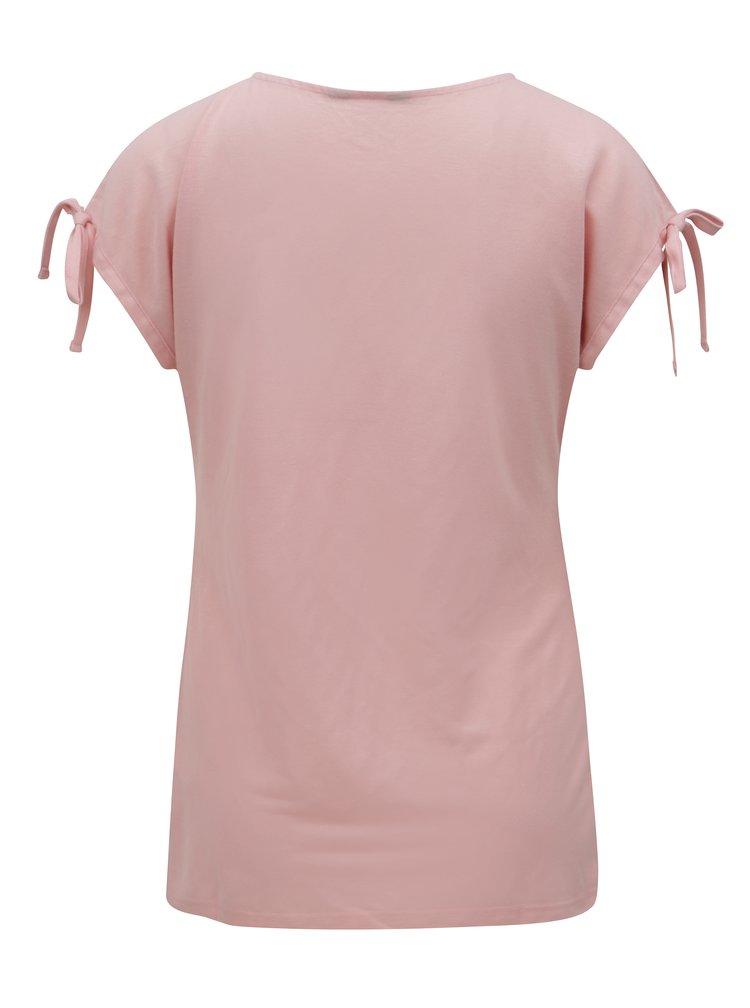 Růžové tričko s průstřihy a potiskem Dorothy Perkins