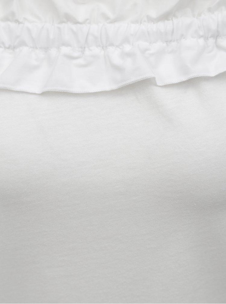 Bílý top s volánem a ramínky na zavazování Dorothy Perkins