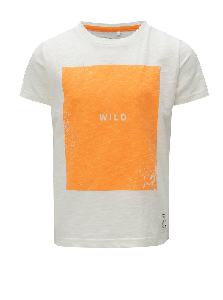 Oranžovo-bílé klučičí tričko s potiskem name it Johan