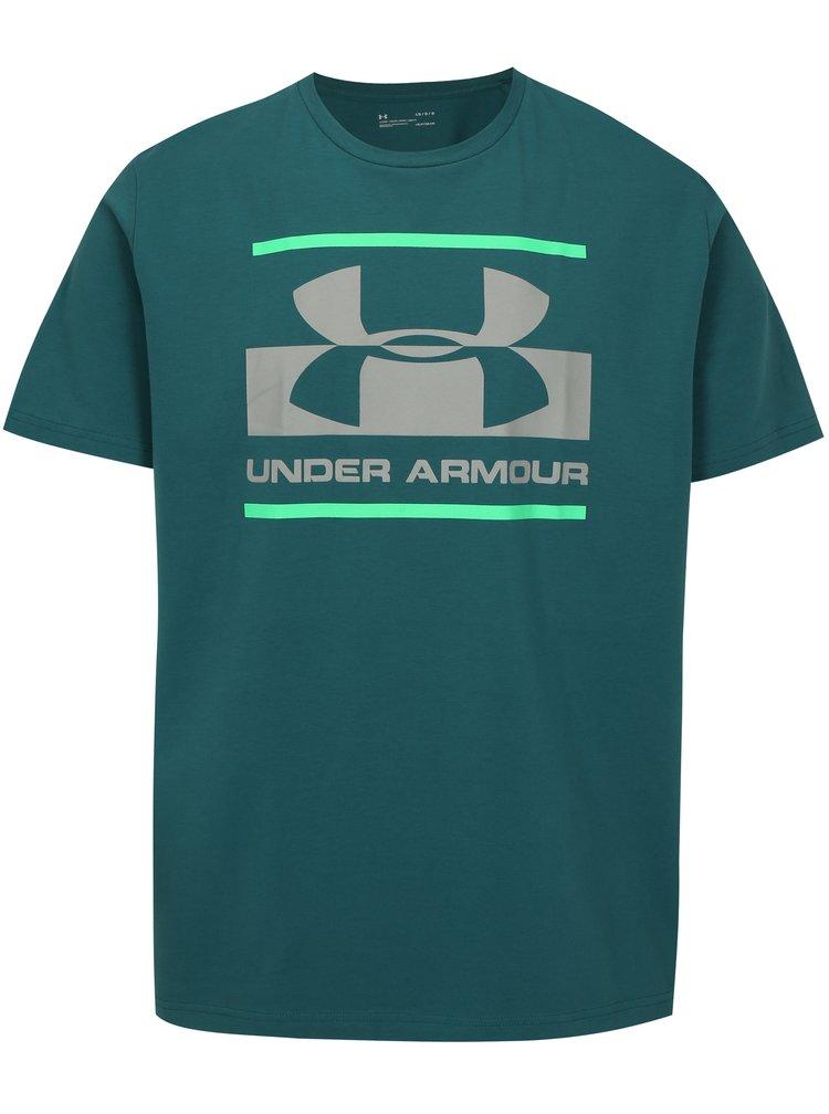 Tyrkysové pánské funkční tričko s potiskem Under Armour Blocked