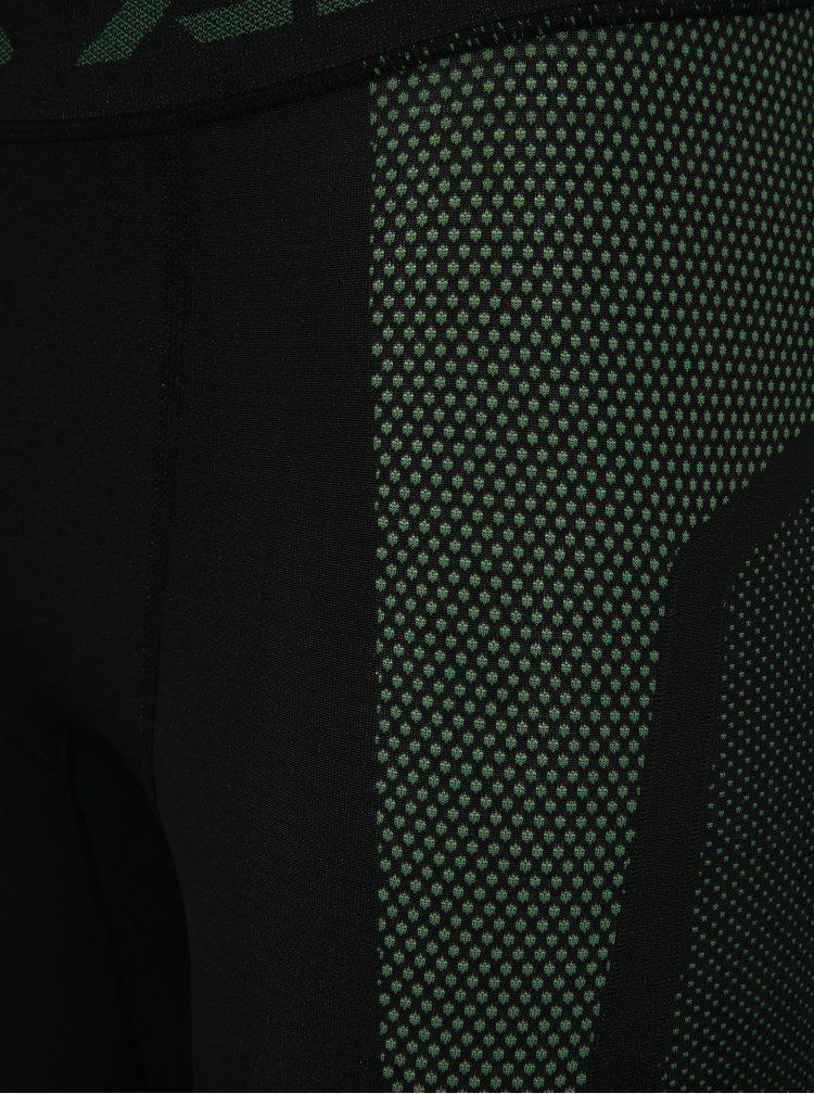 Zeleno-čierné pánske funkčné legíny Under Armour Threadborne