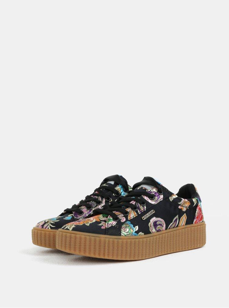Černé dámské květované tenisky na platformě Pepe Jeans Frida orient