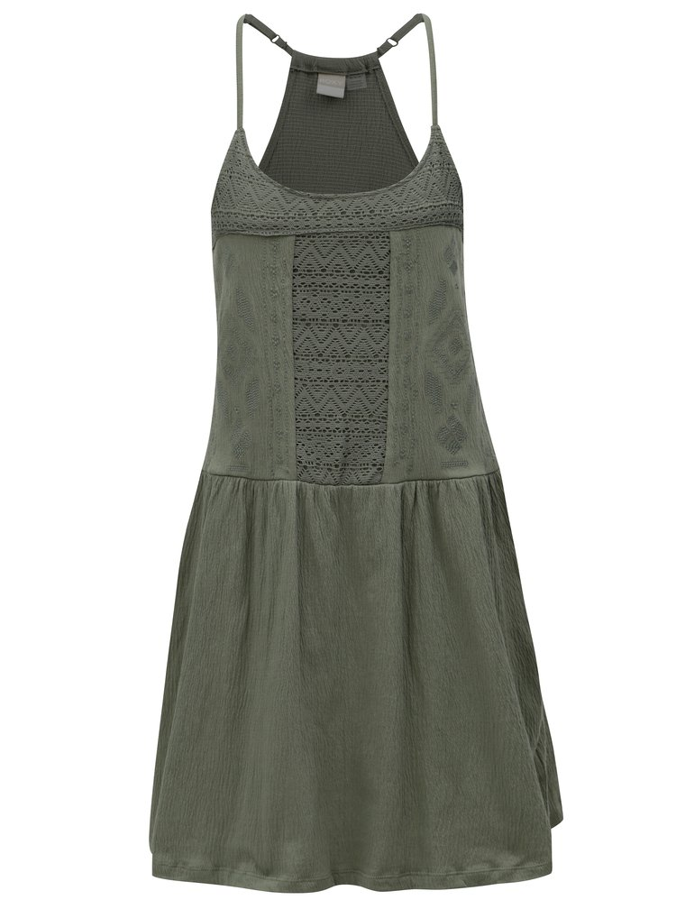 Zelené šaty s čipkou Roxy White Beaches