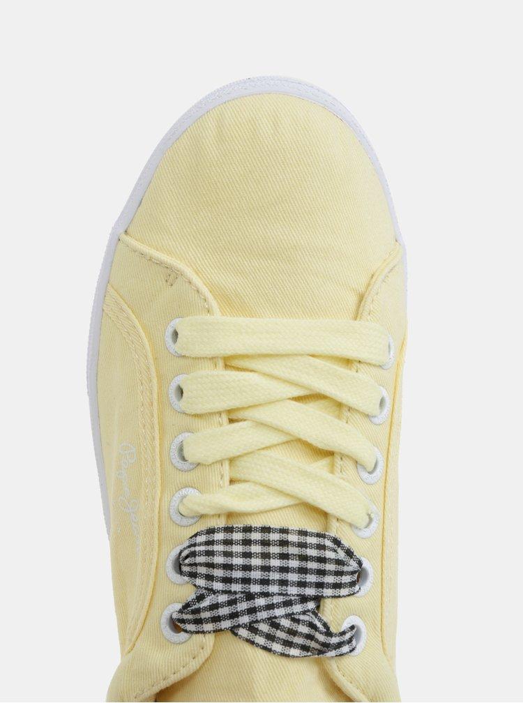 Žluté dámské plátěné tenisky na platformě Pepe Jeans Rene Skate