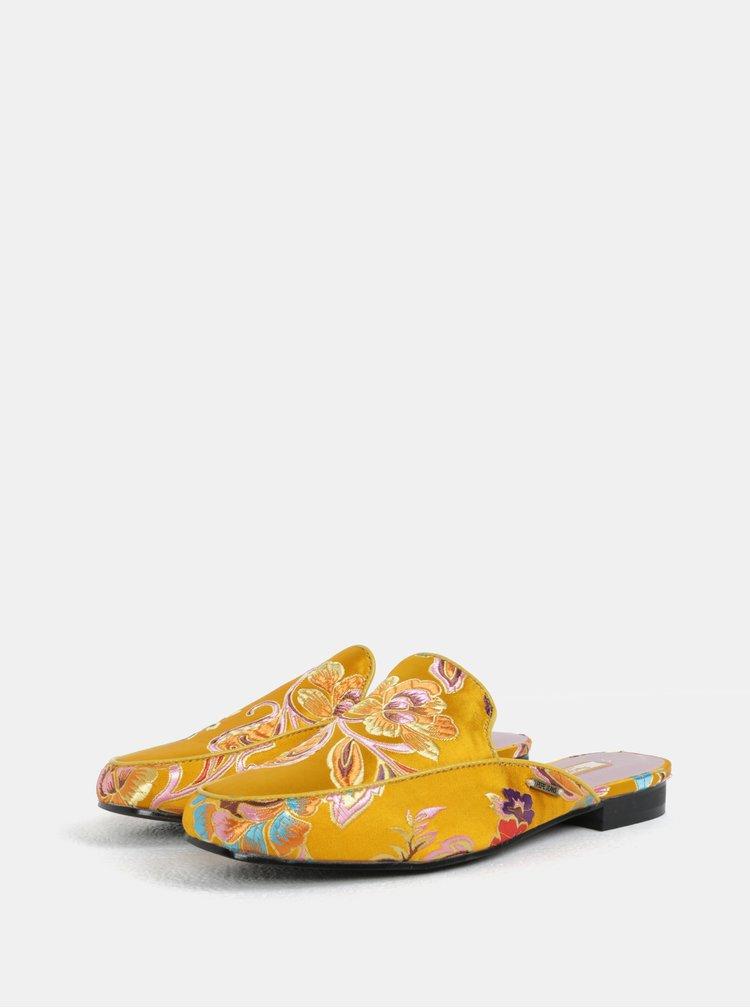 Oranžové dámské pantofle s výšivkou květin Pepe Jeans Klimpt art