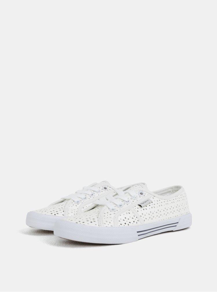 Bílé dámské perforované tenisky Pepe Jeans Aberlady daisy