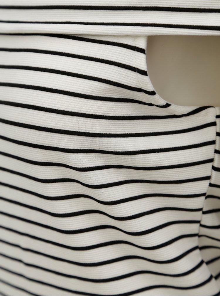 Černo-krémové pruhované šaty s odhalenými rameny VILA Cone