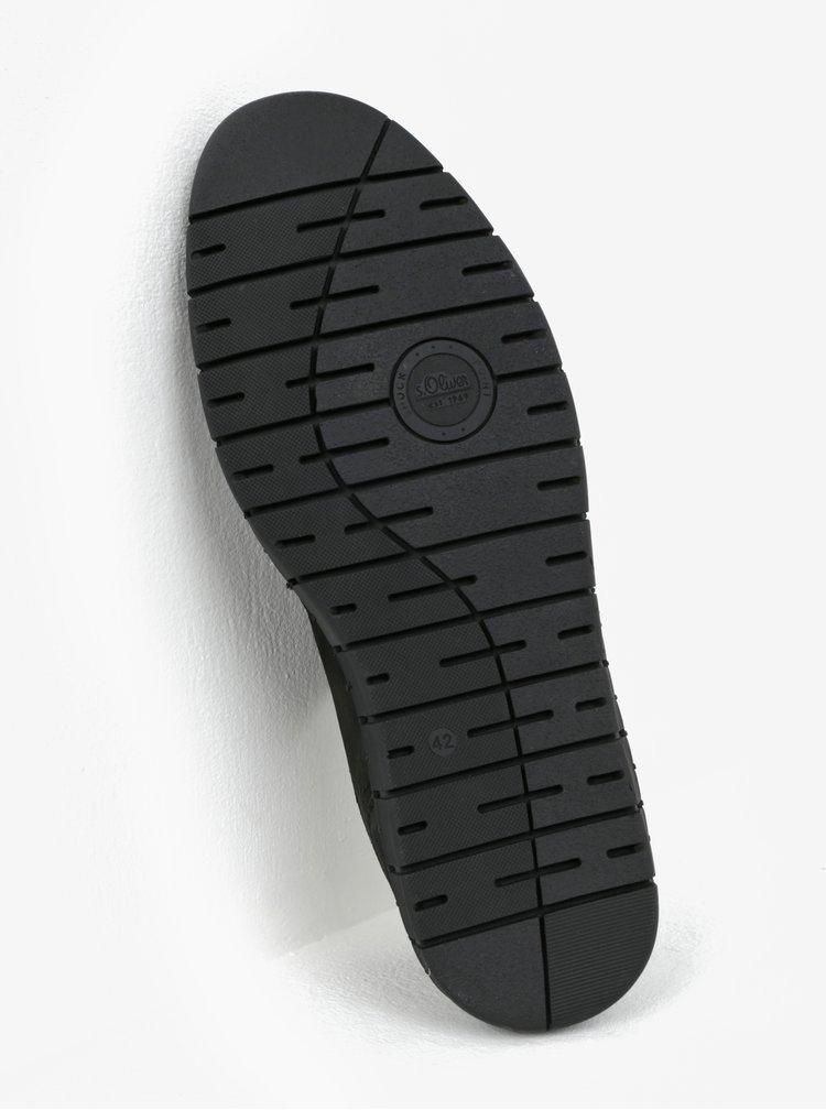 Černé pánské kožené tenisky s.Oliver
