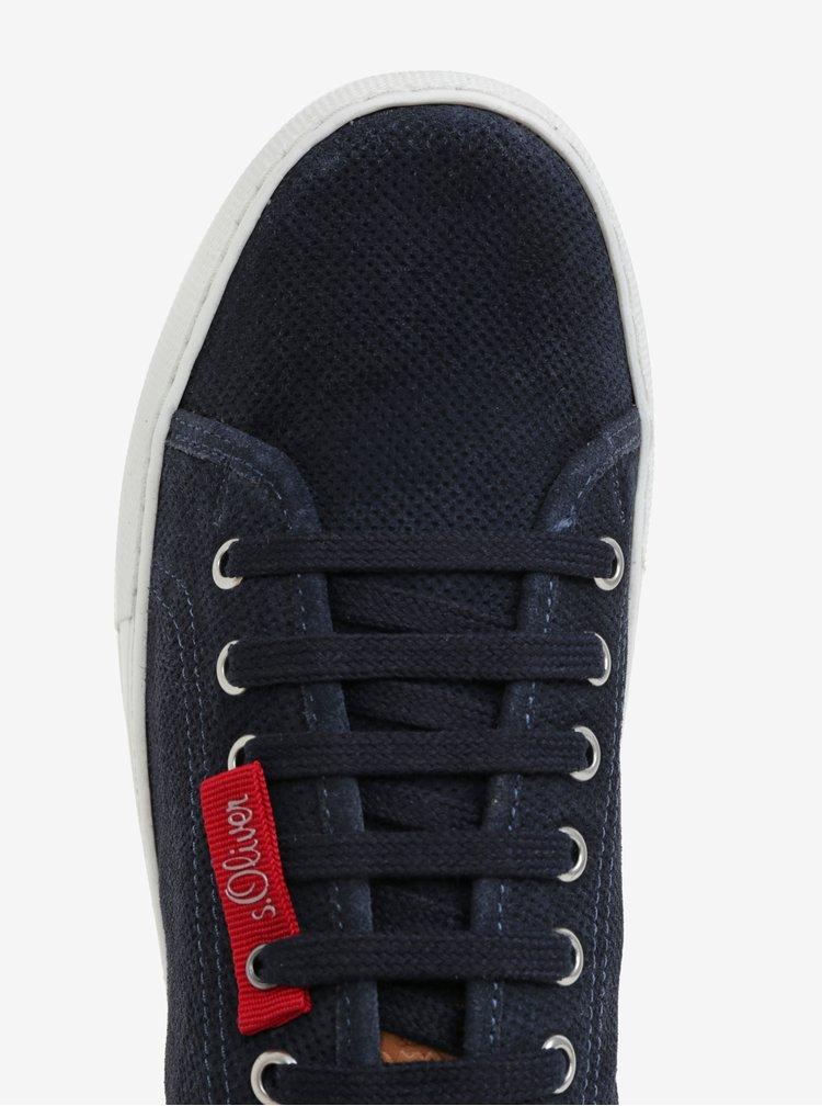 Pantofi sport albastru inchis din piele pentru barbati - s.Oliver