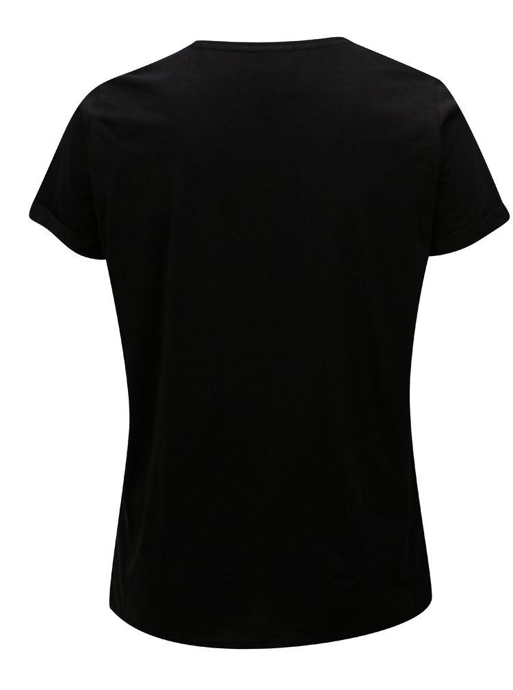 Černé tričko s potiskem a krátkým rukávem Zizzi