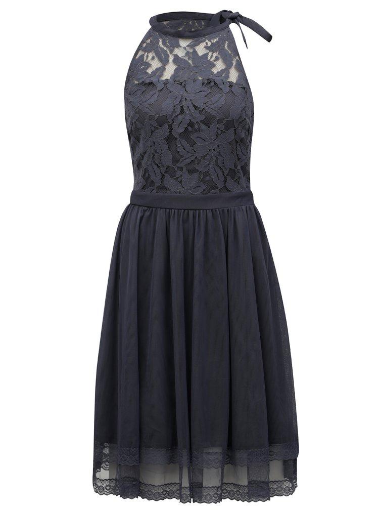 Modrošedé šaty s krajkovým topem VILA Zinna