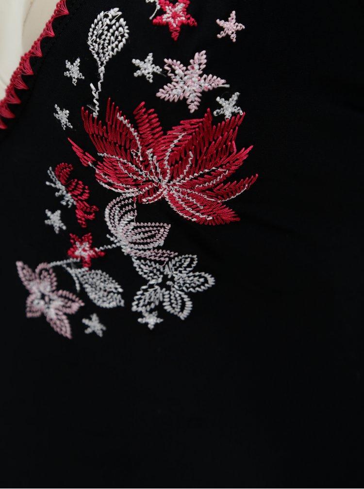 Černé jednodílné plavky s květovanou výšivkou Dorothy Perkins