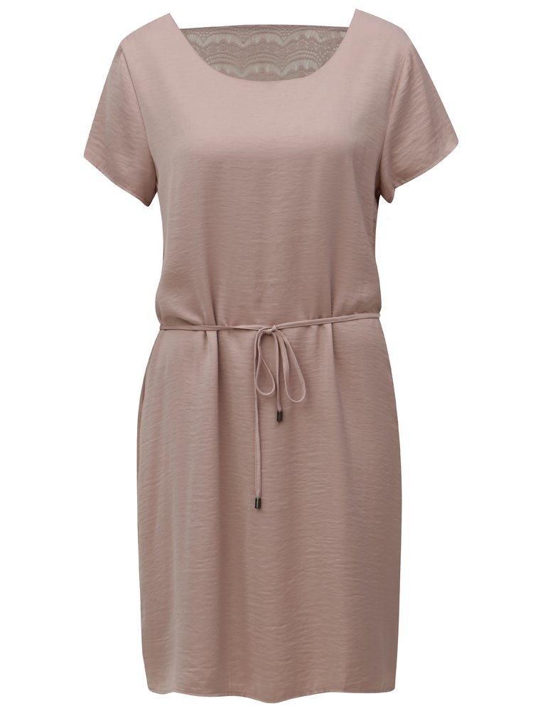 Staroružové šaty s čipkou na chrbte VILA Cava