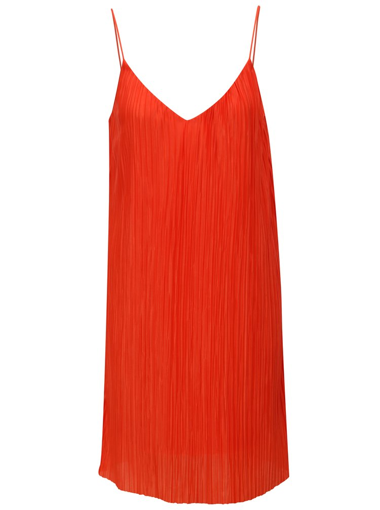 Červené plisované šaty VILA Solana