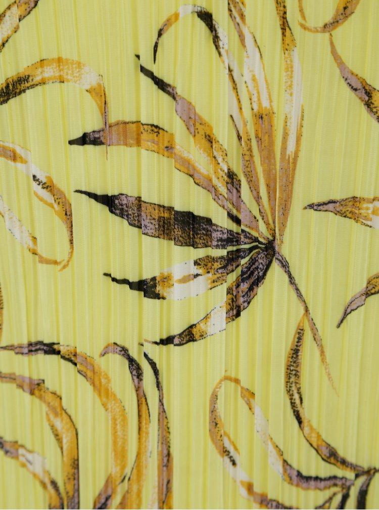 Žluté květované plisované šaty VILA Solana