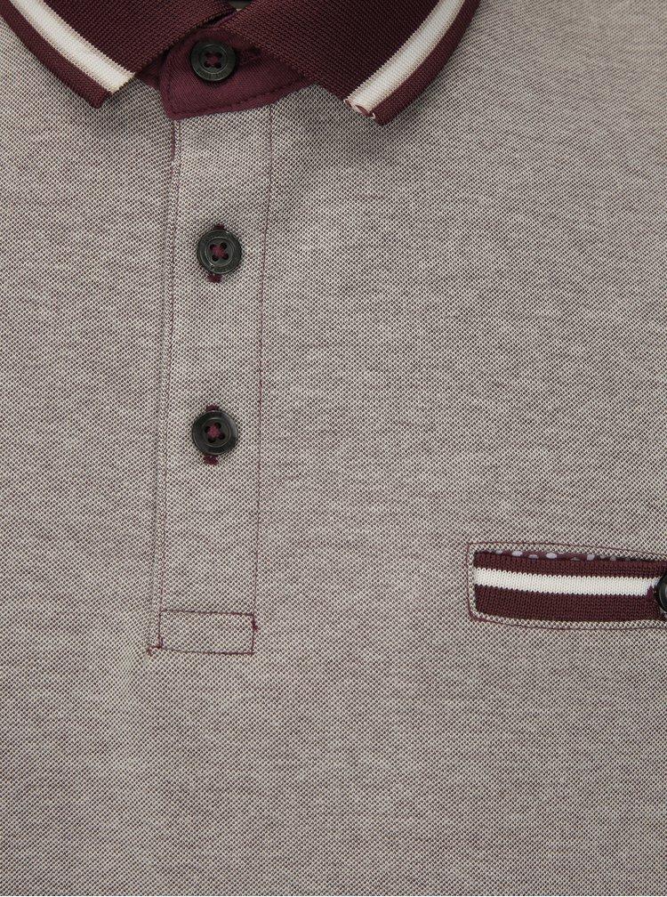 Vínovo-šedé polo tričko Burton Menswear London