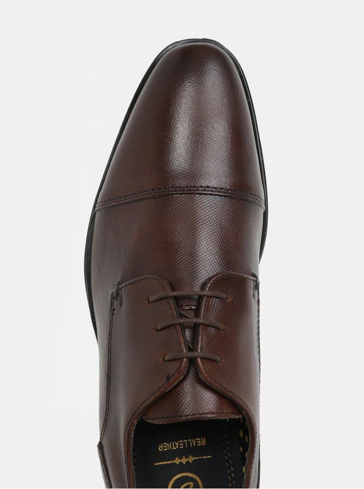 Tmavě hnědé pánské kožené polobotky Burton Menswear London