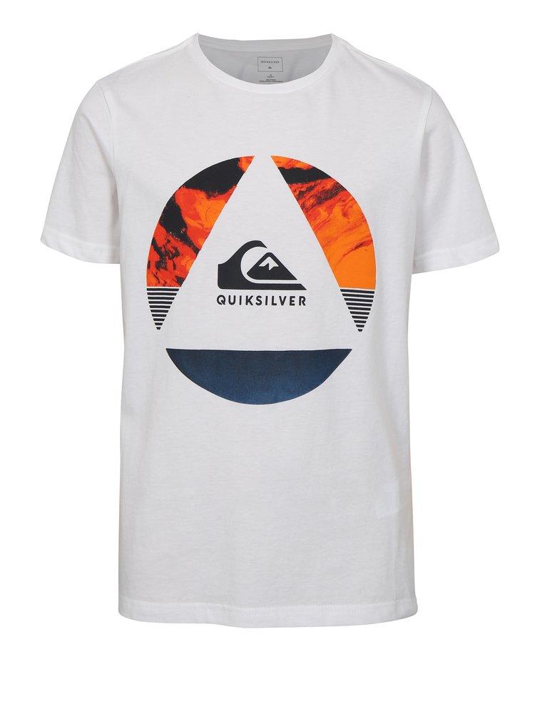 Bílé klučičí regular fit tričko s potiskem Quiksilver