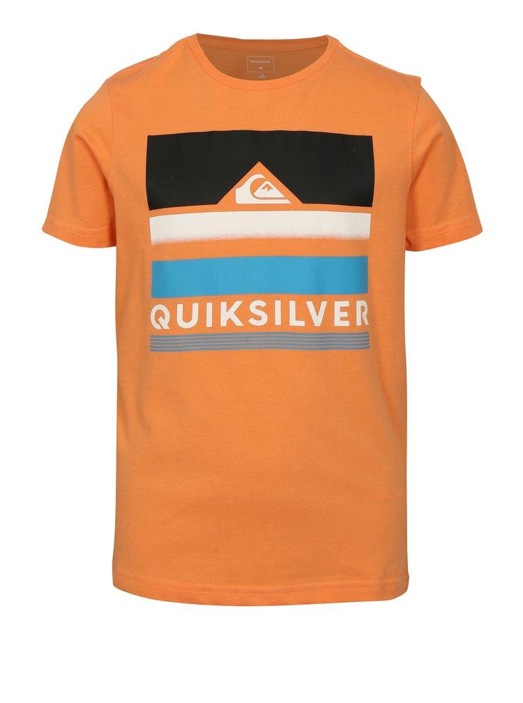 Oranžové klučičí regular fit tričko s potiskem Quiksilver