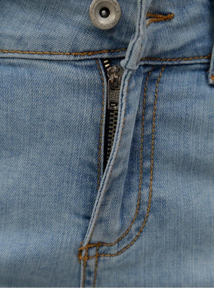 Blugi albastru deschis crop straight din denim cu talie joasa Fornarina Tya