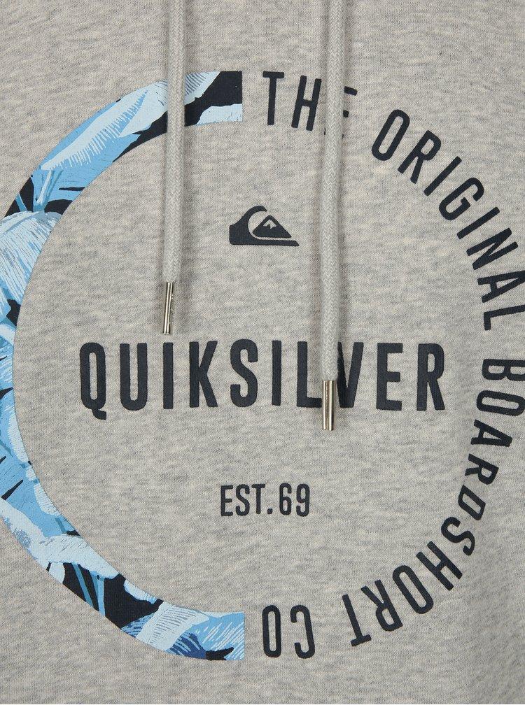 Světle šedá pánská žíhaná mikina s potiskem Quiksilver
