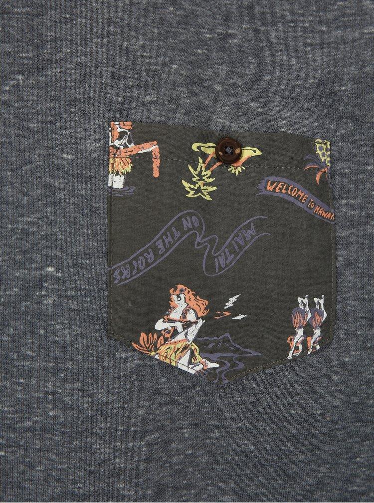 Šedá pánská žíhaná mikina s kapsou Quiksilver