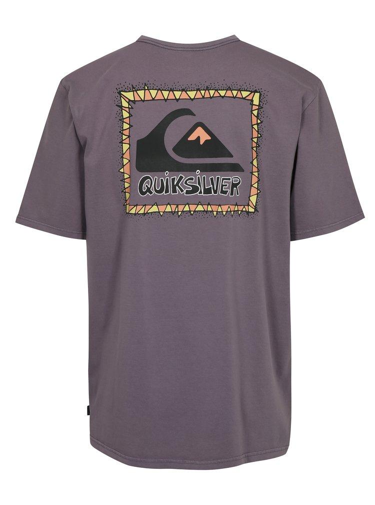 Světle fialové pánské fit tričko s potiskem na zádech Quiksilver
