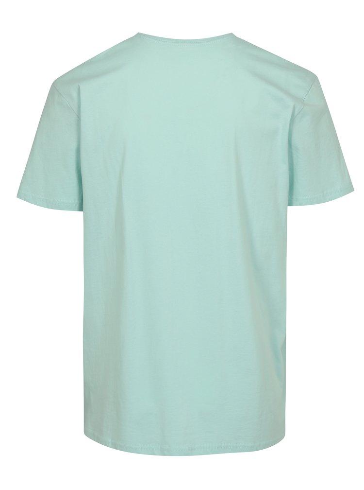 Mentolové pánske regular fit tričko s potlačou Quiksilver