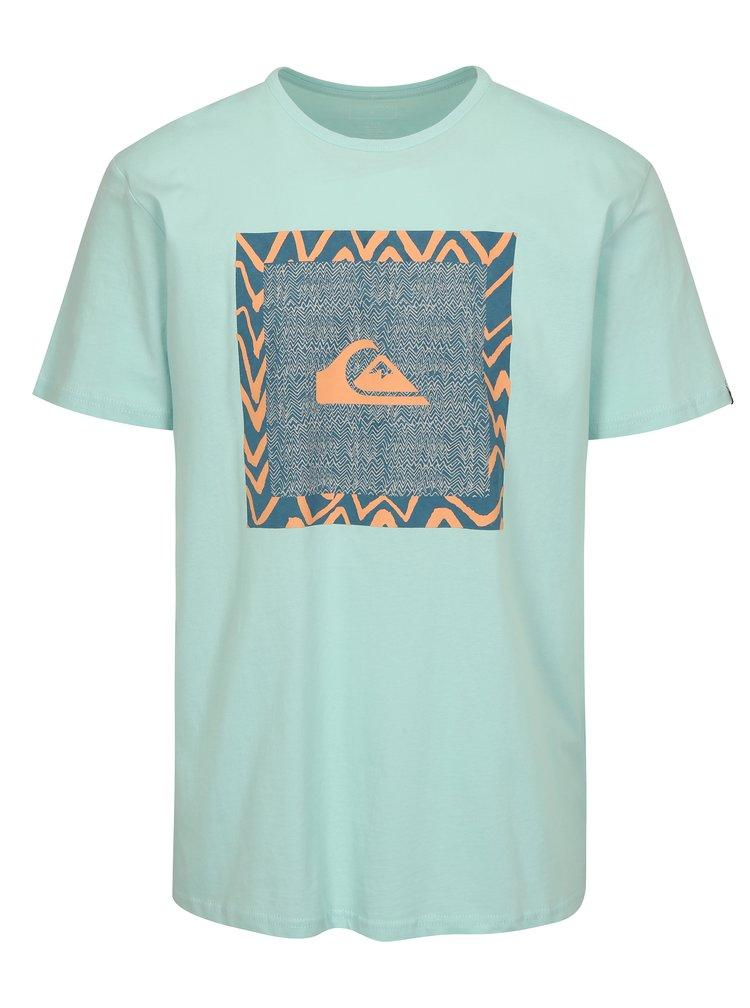 Mentolové pánské regular fit tričko s potiskem Quiksilver