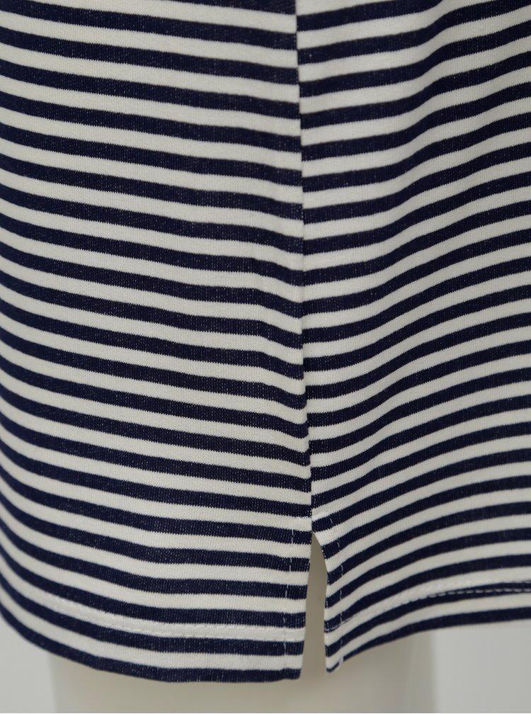 Bílo-modré pruhované šaty s výšivkou Fornarina Tamara
