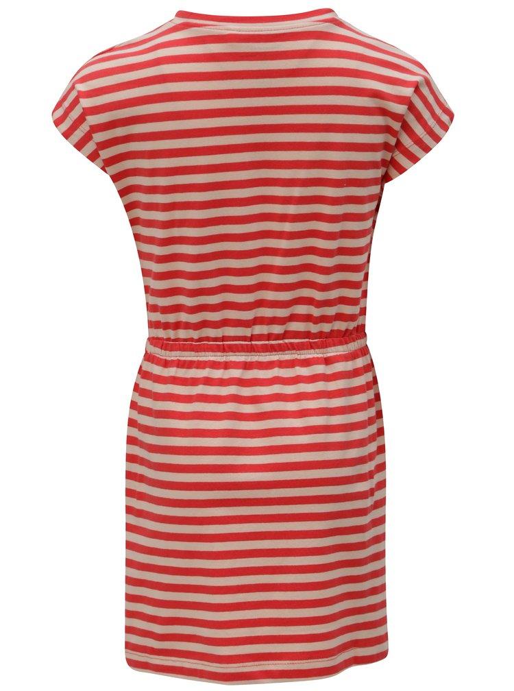 Béžovo-červené holčičí pruhované šaty name it Pinja