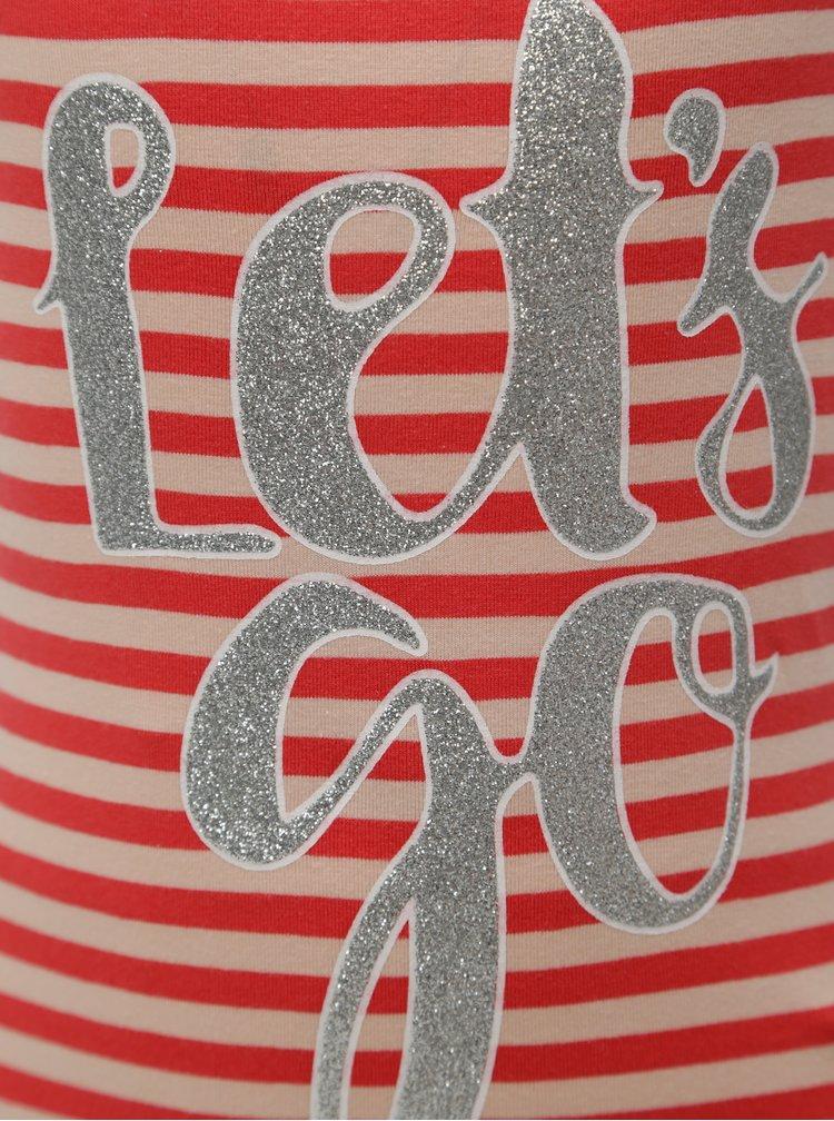 Béžovo-červené holčičí pruhované šaty name it Pihla
