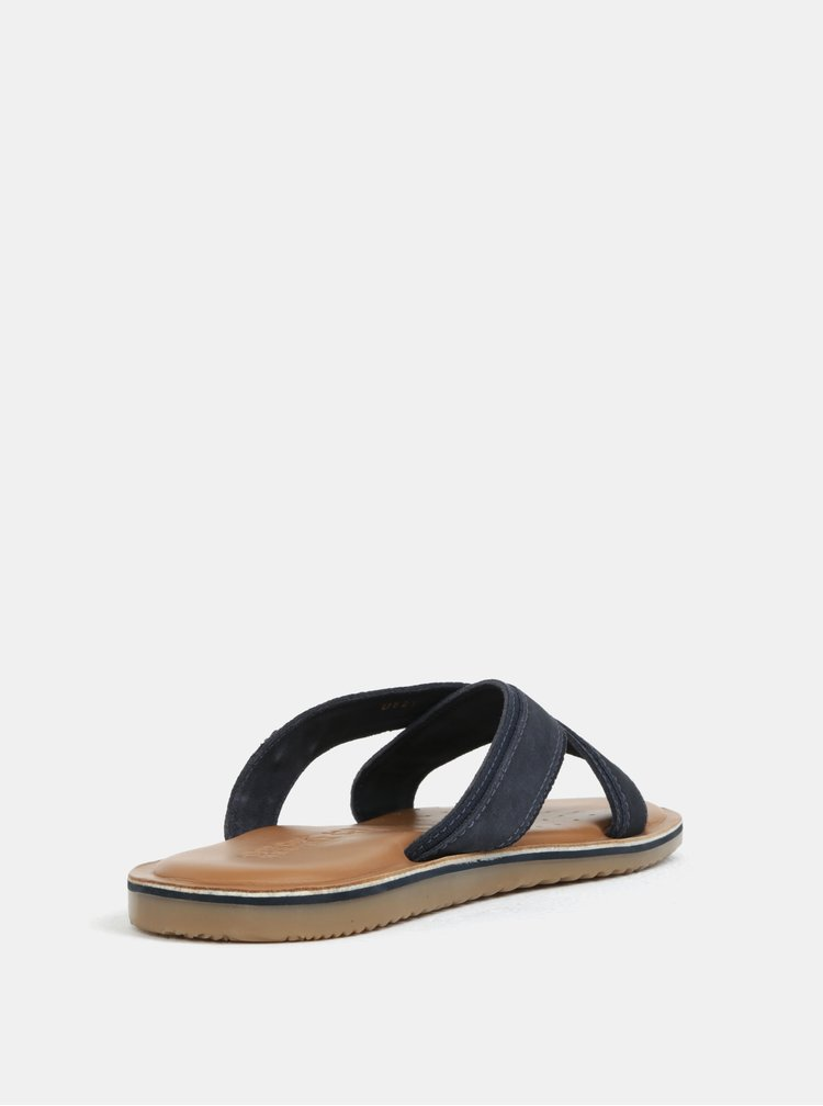 Papuci albastru inchis din piele pentru barbati - Geox Arite