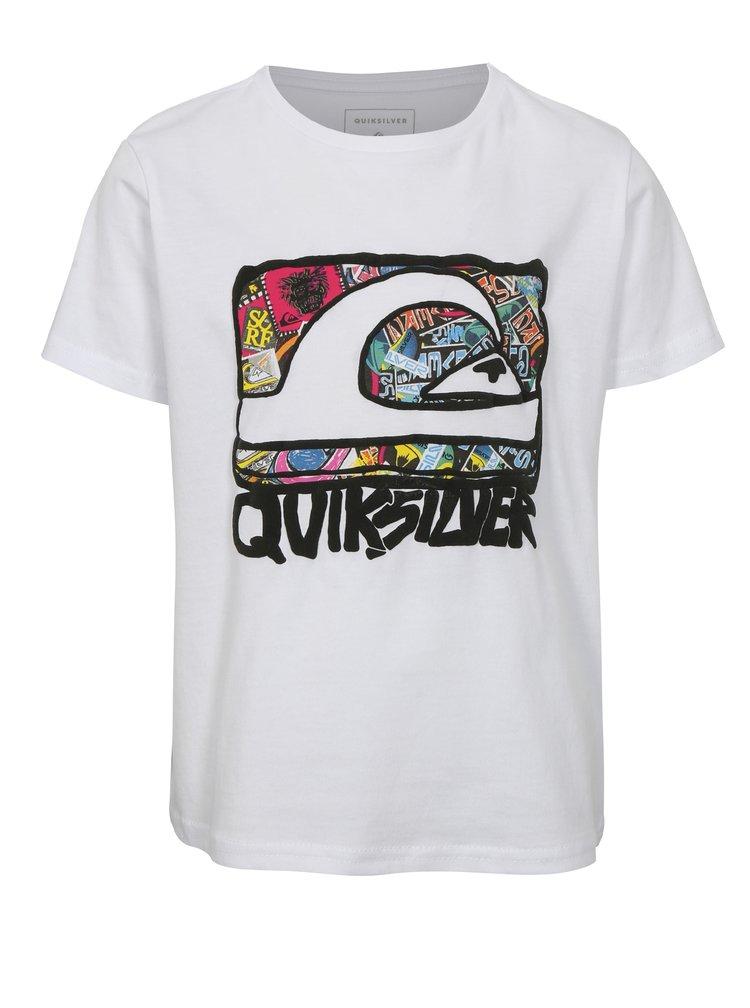 Bílé klučičí regular fit tričko s barevným potiskem Quiksilver