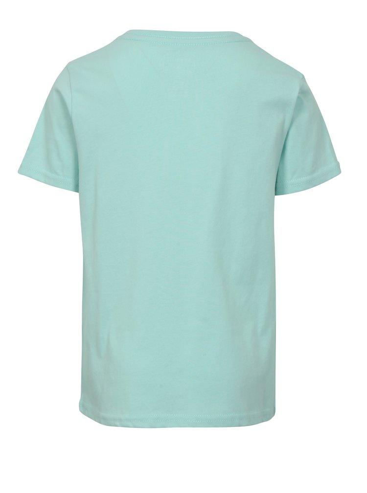Mentolové klučičí regular fit tričko s potiskem Quiksilver