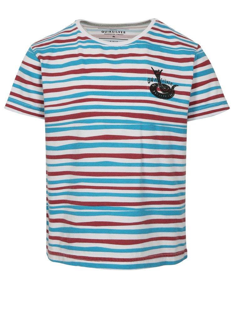 Bílo-modré klučičí pruhované regular fit tričko s potiskem Quiksilver