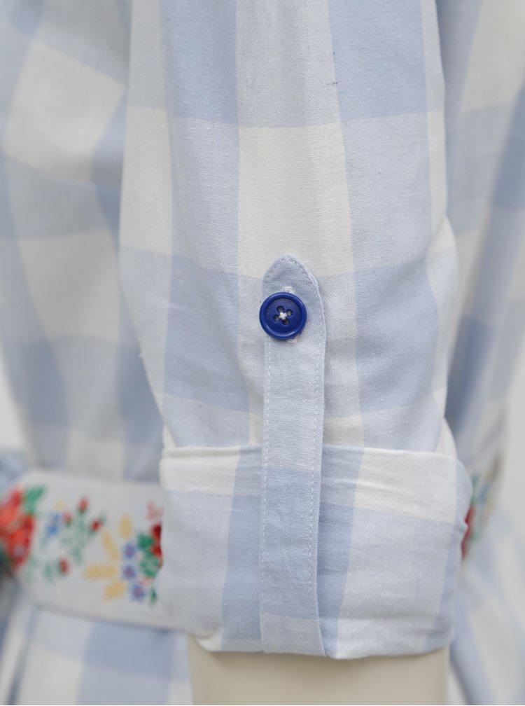 Světle modré kostkované košilové šaty Bohemian Tailors Edita