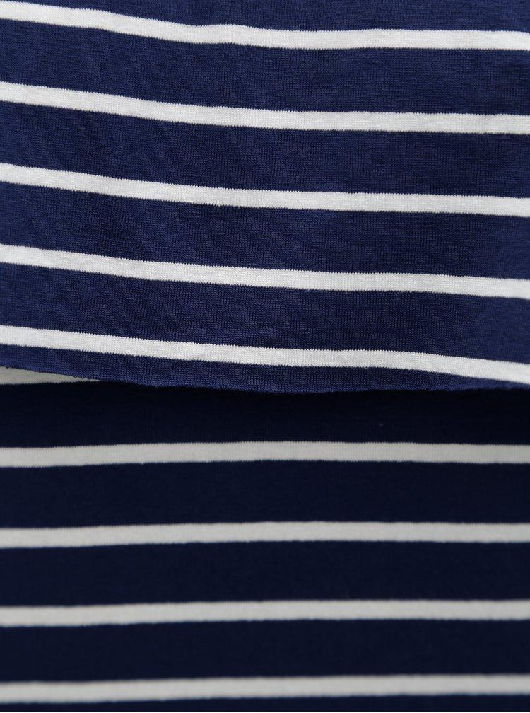 Rochie albastru inchis in dungi cu decolteu pe umeri Haily's Nanna