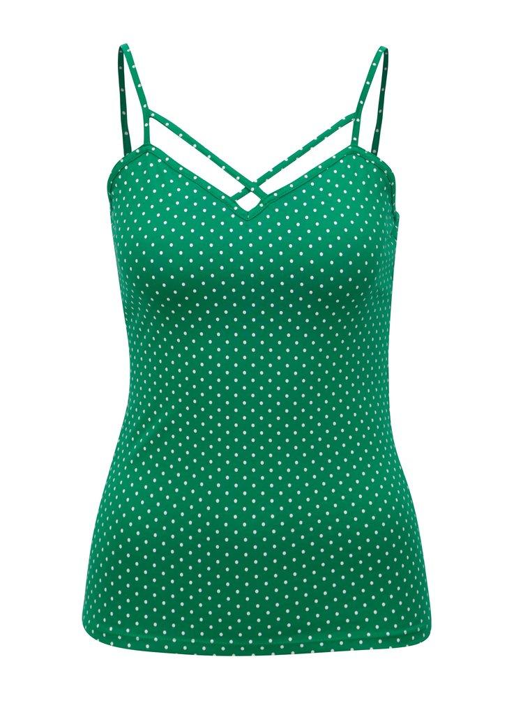 Zelené puntíkované tílko s úzkými ramínky TALLY WEiJL