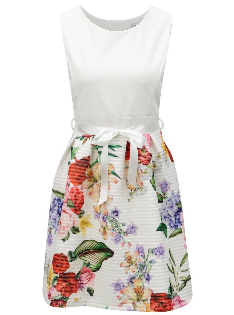 Krémové květované šaty se zavazováním v pase Haily's Vicky