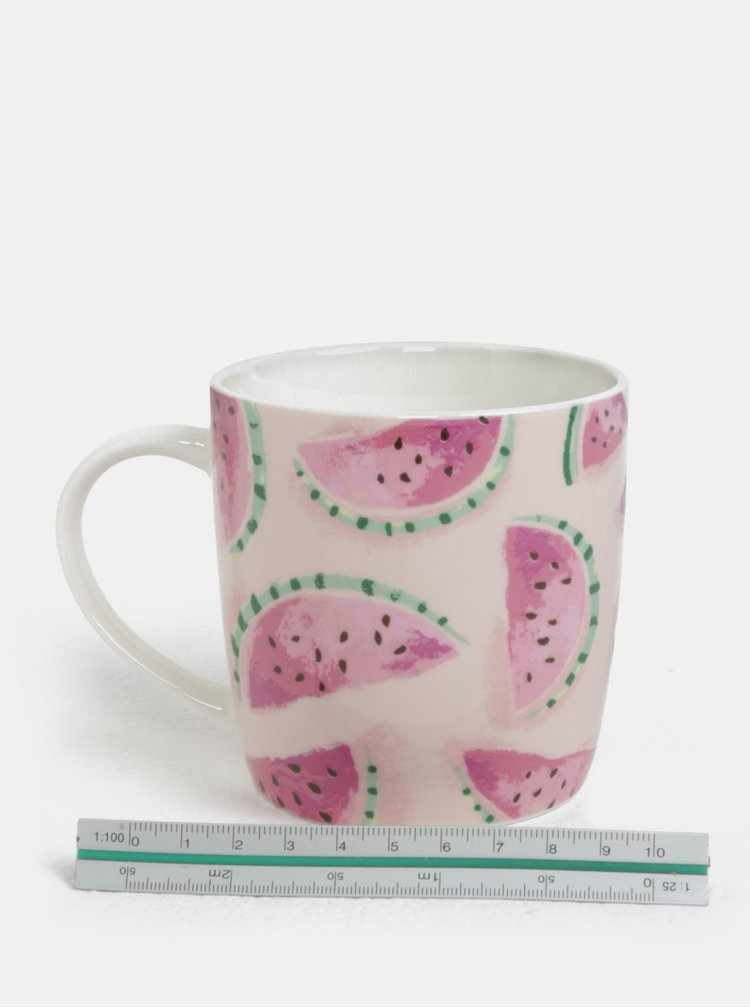 Světle růžový hrnek s motivem melounů Cath Kidston