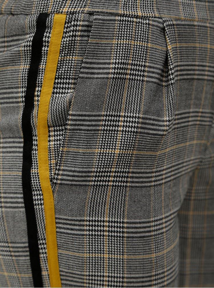 Šedé kárované kalhoty se žlutým pruhem TALLY WEiJL