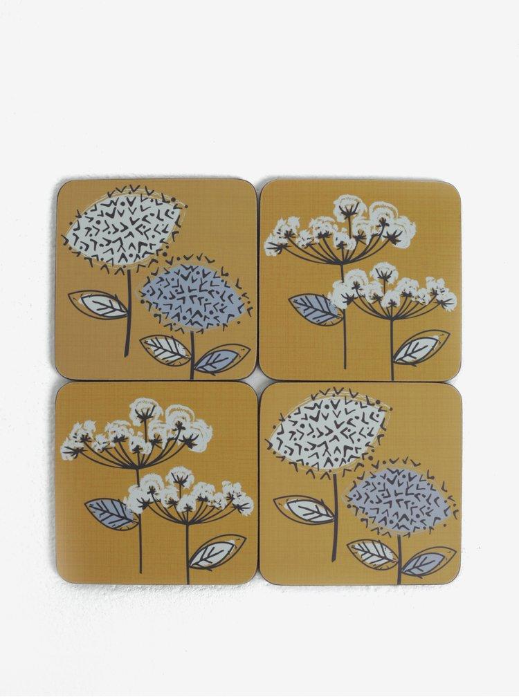 Hořčicová sada čtyř podtácků s květovaným motivem Cooksmart