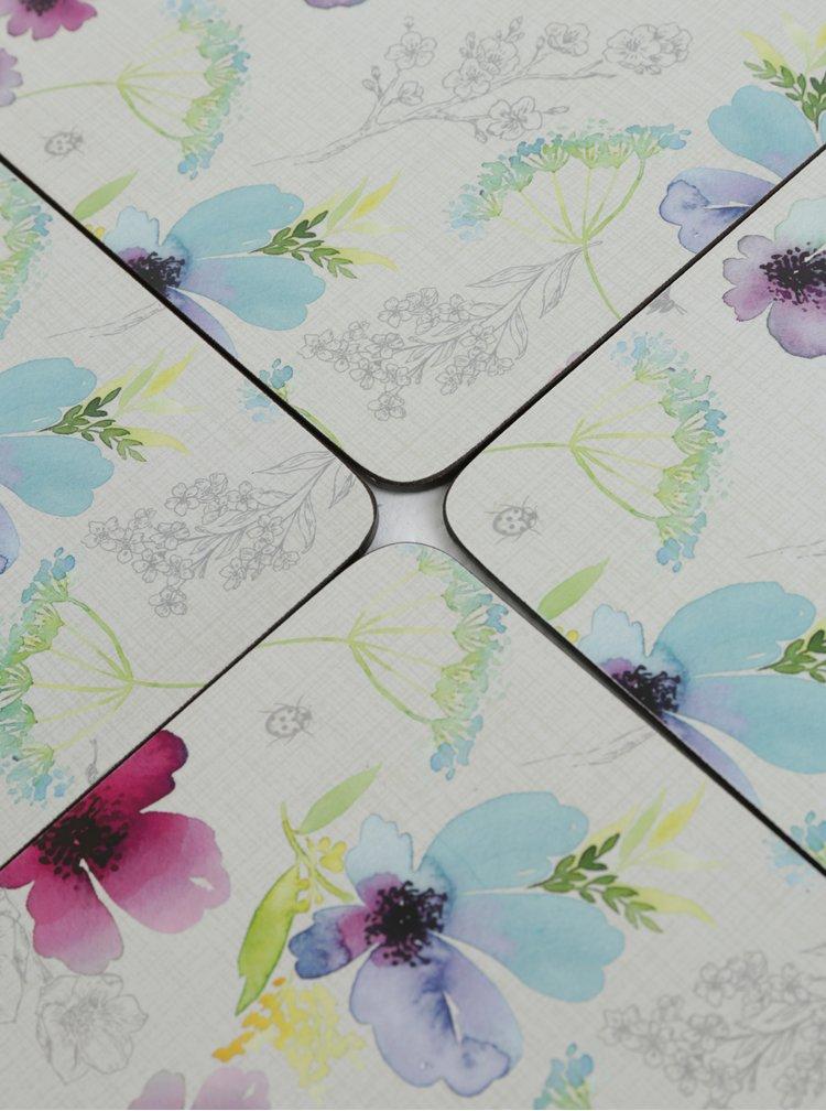 Fialová sada čtyř prostírání s květovaným motivem Cooksmart