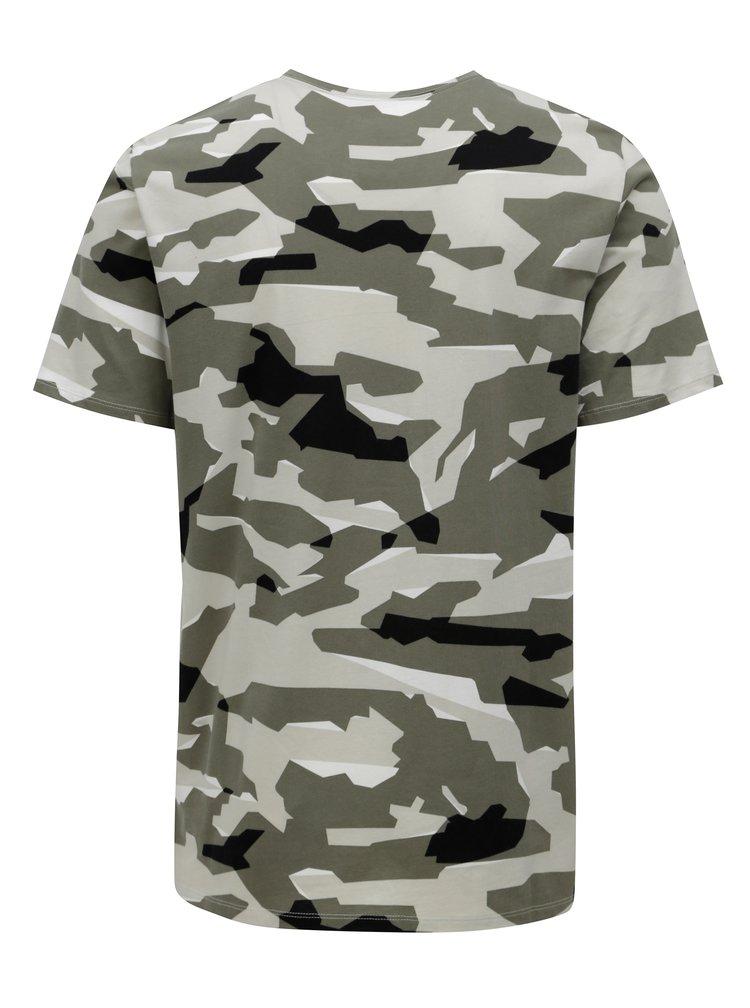 Khaki pánské maskáčové tričko s krátkým rukávem Nike