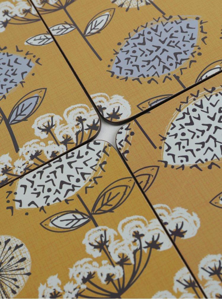 Hořčicová sada čtyř prostírání s květovaným motivem Cooksmart